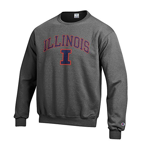 Elite Fan Shop Illinois Fighting Illini Crewneck Sweatshirt Varsity Charcoal - XXL
