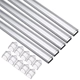 uxcell 5 Packs Aluminum LED Channel - for LED Strip Lights, 1Meter/3.3ft Led Channels and Transparent Diffusers for LED Flexible Light Strip Mounting (CN-502,1mx14.9mmx8.6mm)