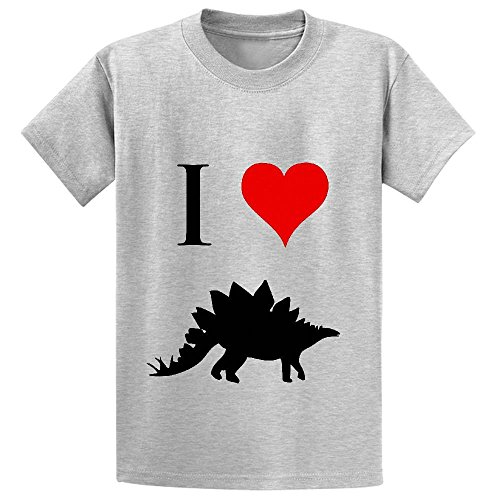 Chas I Love Dinosaurs Stegosaurus Youth Crew Neck Personalized Tee Grey