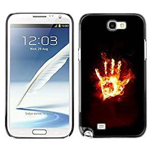 Caucho caso de Shell duro de la cubierta de accesorios de protección BY RAYDREAMMM - Samsung Galaxy Note 2 N7100 - Flaming Hand From Hell