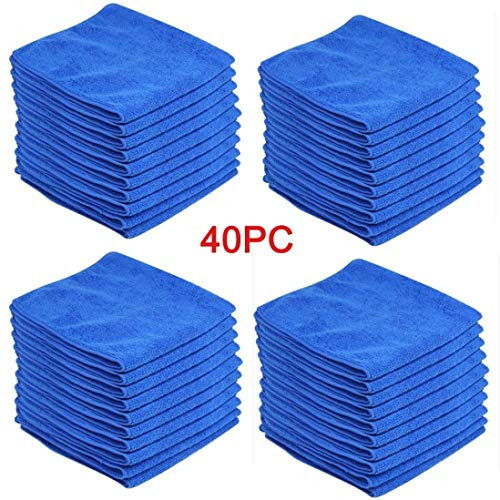 40Pcs/Set Car Microfiber Cleaning Towels Ultra Soft Polish Cloths Professional Kitchen House Super Absorbent Car Windows Cleaning Tools House-Hold Wash Premium Towel - 30x30cm by Pausseo by Pausseo Brush