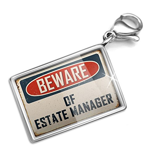 Clip on Charm & Bracelet Set Beware Of Estate Manager Vintage Funny Sign Lobster - Estate Set Jewelry Vintage