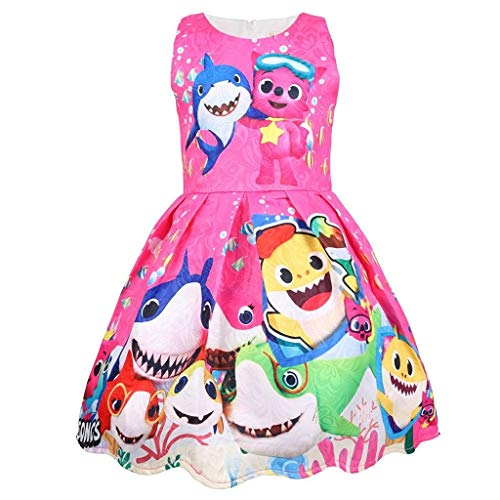Coralup Toddler Girls Baby Shark Sleeveless Party Dress(Rose,3-4