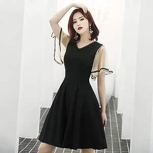 Vestido de noche negro 2020 nueva versión coreana del