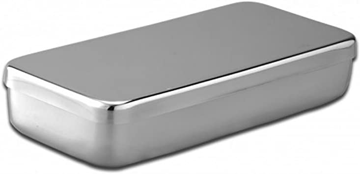 Caja acero inoxidable 18 x 10x 3 cm-Unidad: Amazon.es: Salud y cuidado personal