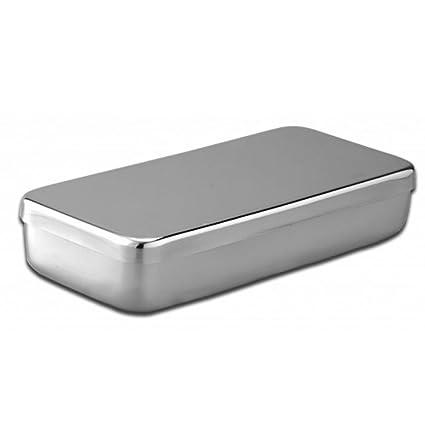 Caja acero inoxidable 18 x 10x 3 cm-Unidad: Amazon.es: Salud ...
