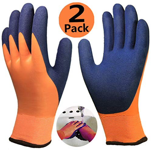 - Waterproof Work Gloves 2 Pack, Double Latex Coated Grip and Comfortable, Improved Dexterity for Outdoor Garden Watering Car Cleaning Multipurpose Use, for Women Large Size Hands and Men Medium-2pairs