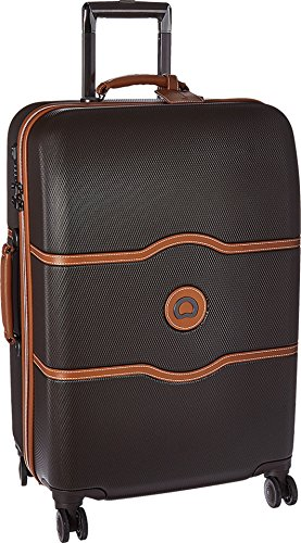 Delsey Luggage Chatelet Hard+, Medium Checked Luggage, Hard Case Spinner Suitcase, Chocolate Brown