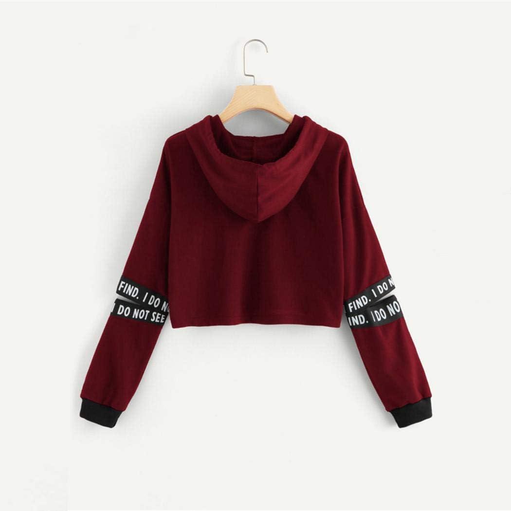 Letter Tape Split Sleeve Crop Sweatshirt Women Casual Long Sleeve Pullovers Hoodie
