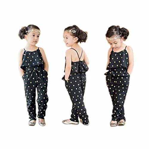 (Vicbovo Fashion Toddler Baby Girl Love Heart Print Sleeveless Jumpsuit Romper Girls Summer Clothes Outfits for 1-7Y (Black,)
