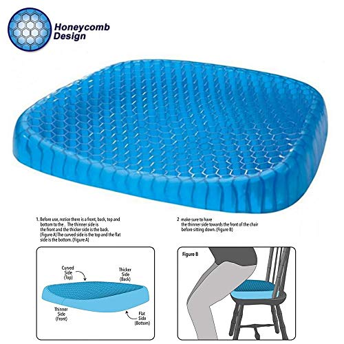 - Gel Orthopedic Seat Cushion Provide Relief for Lower Back/Coccyx/Sciatica/Tailbone or Hip Pain Breathable Honeycomb Design Seat Pad for Chairs/Wheelchair/Car/Office Chair