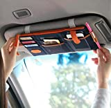 car visor organizer blue - Multi-functional Auto Car Clip Sunvisor Car Storage Bag CD Hanging Storage Bag Organization (Dark Blue)