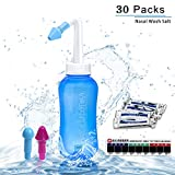 Neti Pot Sinus Rinse Bottle Nose Wash Cleaner Pressure Rinse Nasal Irrigation for Adult & Kid BPA Free 300 ML with 30 Nasal Wash Salt Packets and Sticker Thermometer