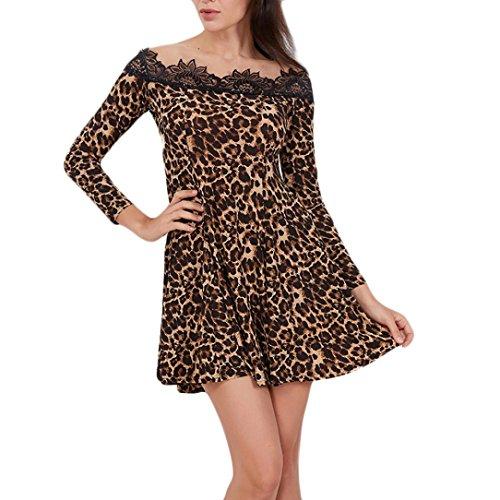 Flurries Women Dress, Fashion Womens Slash Neck Long Sleeves Lace Leopard Print Splicing Mini Dress (S, Coffee) by Flurries