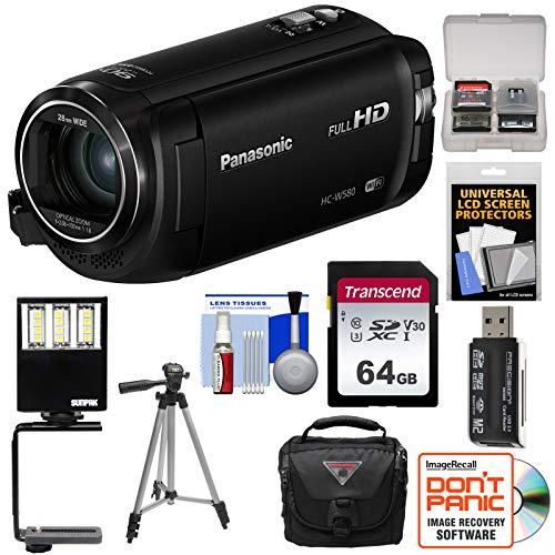Panasonic HC-W580 Twin Wi-Fi HD Video Camera Camcorder with 64GB Card + Case + Tripod + LED Light + Reader + (Panasonic Smart Card Reader)
