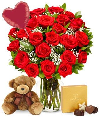 Flowers - Two Dozen Red Roses + Heart Balloon + Chocolate + Bear (Free Vase Included) ()