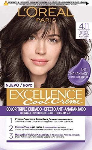 LOréal Paris Excellence Cool Creme Color Triple Cuidado, Tono 4.11 Castaño Ceniza Intenso - 260 g