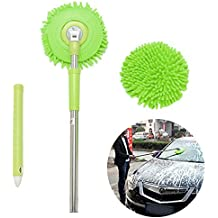 Car wash Mop,Microfiber Chenille Flexible Handle Car Clean Wash Mop Plus Towel Head (Green car mop)