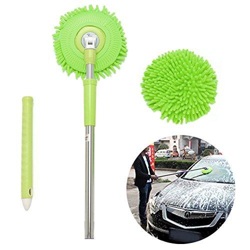 Car wash Mop,Microfiber Chenille Flexible Handle Car Clean Wash Mop Plus Towel Head (Green car (Wash Mop)