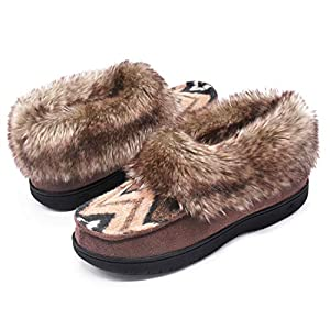 Zigzagger Women's Comfort Memory Foam Bootie Slippers with Warm Polar Fleece Lining and Fuzzy Faux Fur Collar, Pattern Suede House Shoes with Indoor Outdoor Anti-Slip Hard Rubber Sole