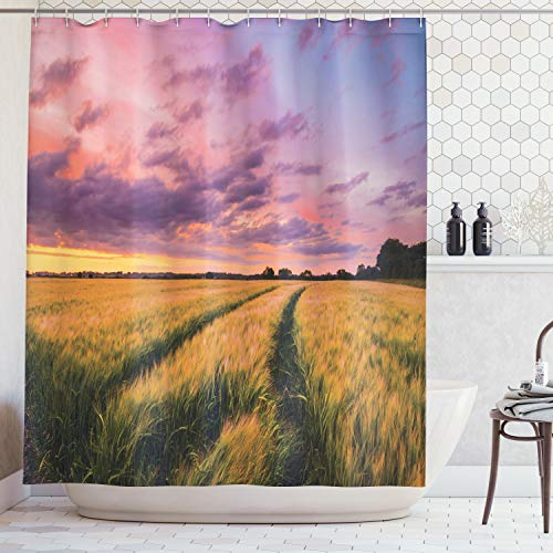 Ambesonne Farm House Decor Collection, Flowing Crop at Sunset Morning in Nature Countryside Style Cloudscape Scene Print, Polyester Fabric Bathroom Shower Curtain Set with Hooks, Yellow ()