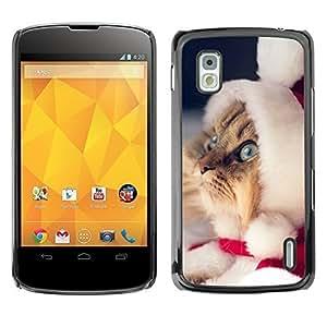 YOYO Slim PC / Aluminium Case Cover Armor Shell Portection //Christmas Holiday Cute Kitty Cat Santas Helper 1121 //LG Google Nexus 4 by ruishername