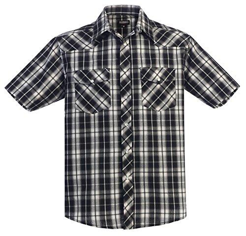Gioberti Men's Plaid Western Shirt, Black Gradient, X Large
