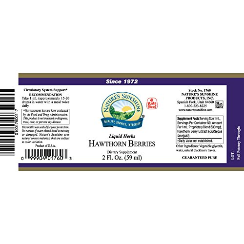 Naturessunshine Hawthorn Berries Extract Circulatory System Support Alcohol-Free Herbal Extract 2 fl.oz (Pack of 4) by Nature's Sunshine (Image #1)