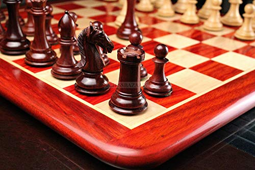 """The Contemporary Staunton Series Chess Pieces with Board Combo in Bud Rose Wood & Box Wood - 4.2"""" King"""