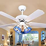 RainierLight Classic Ceiling Fan 3 Tiffany Lampshade with 5 Wood Leaves Mute Fan Light 42-Inch(White)