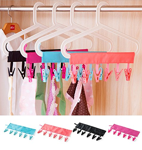 NUOMI 4 Pack Laundry Drip Hanger with 24 Clips for Drying Cl