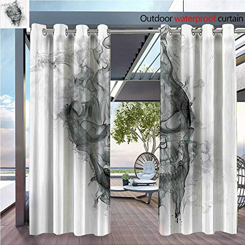DESPKON Shading of Outdoor Curtains Ctemporary of Smokey Skull Grungy Dark Horror Style Devil Evil Suitable for Outdoor Room. W55 x L63 INCH ()