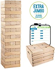 Giant Tumbling Timber Toy - Jumbo Wooden Blocks Floor Game for Kids and Adults