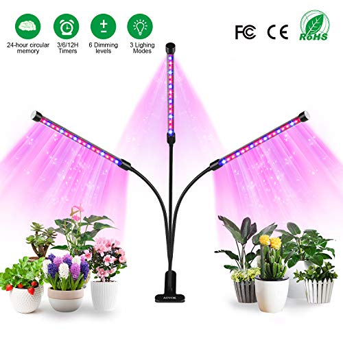 AOVOK LED Grow Light, Grow lamp Bulb Triple Head Plant Lights with 3/6/12 Timer 6 Dimmable for Indoor Plants, Vegetable, Flowers, Fruits, Succulents, Seedlings Starting