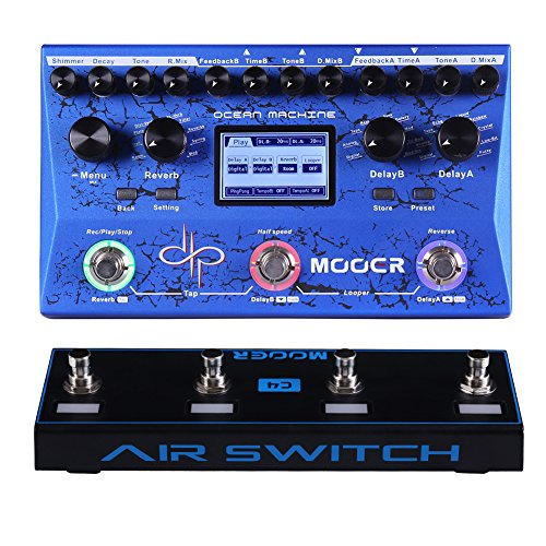 Premium Dual Delay Reverb and Looper with Wireless Footswitch Controller Air Switch 4 (Ocean Machine)