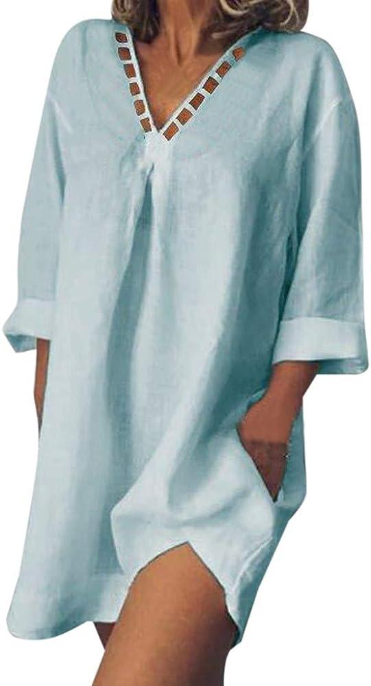 Vestidos de Mujer,LEvifun Verano Vestidos de Playa Moda Escote de Pico Hueco de algodón Y Lino Sueltos Mangas Corto Color Sólido Sundress Casual Corto Midi Dress: Amazon.es: Ropa y accesorios