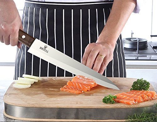 Professional Sashimi Sushi Knife,2/3 Tang Unbroken Soufull Japanese Surgical Grade stainless steel,325mm with Razor Sharp Blade, Gray Leather Wooden Handle with Double Riveted-Durable with Gift Box by Soufull (Image #5)