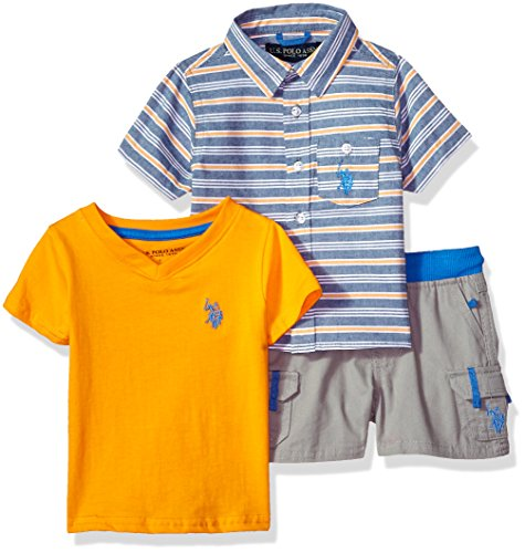 Baby Boy Shirt - U.S. Polo Assn. Baby Boys Sleeve Shirt, T-Shirt and Short Set, Cargo Warhol Orange, 12M