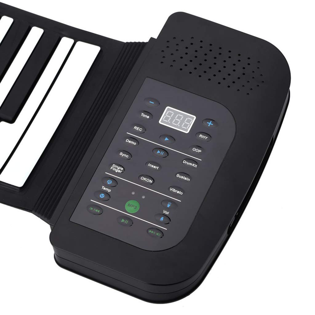 New Foldable Piano Portable Piano 88 Keys Roll Up Piano Keyboard Silicone Flexible Keyboard Foldable Sustain Pedal Rechargeable 1000Ma Lithium Battery,Black by Anyer Piano (Image #5)