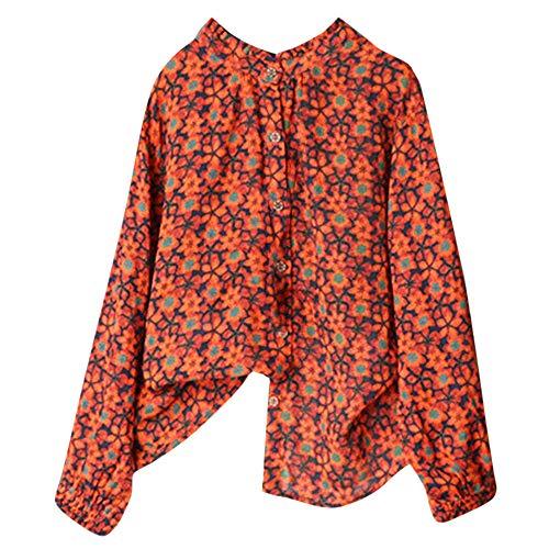 Amples Mode T Shirt Causal Grande Chic Taille Manche Fleurs Femme A Blouse Orange Chemisier Imprim Sexy Tops Longues nS67qwRP