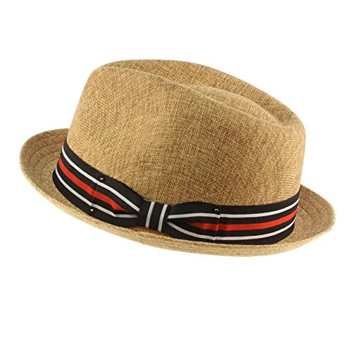 84c095c4175 SK Hat shop Men s Sharp Summer Lightweight Linen Derby Fedora Upturn Brim  Hat