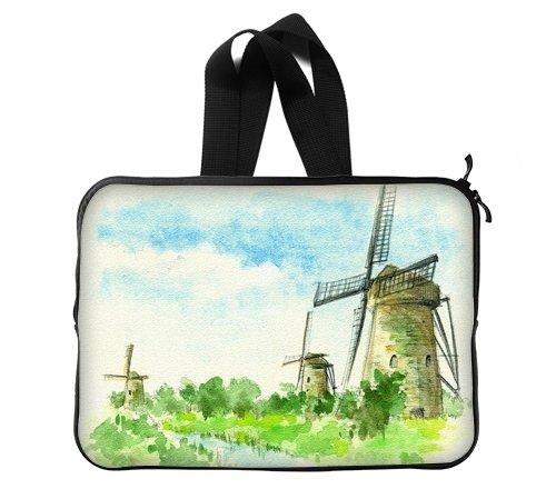 Watercolor Landscape Artistic Decorative Oil Painting Architectural Landscape Dutch windmill Laptop Sleeve Laptop Bag 13