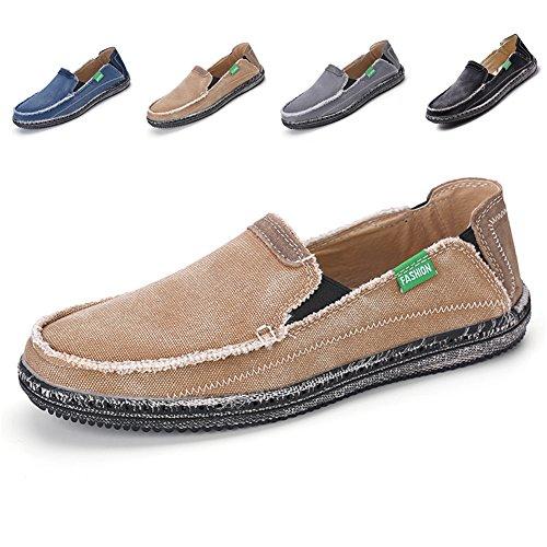 L-RUN Men's Non-Slip Sports Cloth Shoe Leisure Easy-On Walking Shoes Khaki 9.5 M - The Men On Run