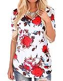 WFTBDREAM Junior Floral t Shirt Short Sleeve Causal v-Neck t-Shirt Blouses Tops White XL