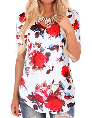 Junior Floral t Shirt Short Sleeve Causal v-Neck t-Shirt Blouses Tops White XL
