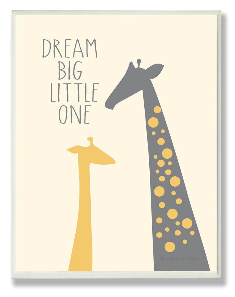 The Kids Room by Stupell Dream Big Little One with Giraffes Rectangle Wall Plaque, 11 x 0.5 x 15, Proudly Made in USA by The Kids Room by Stupell