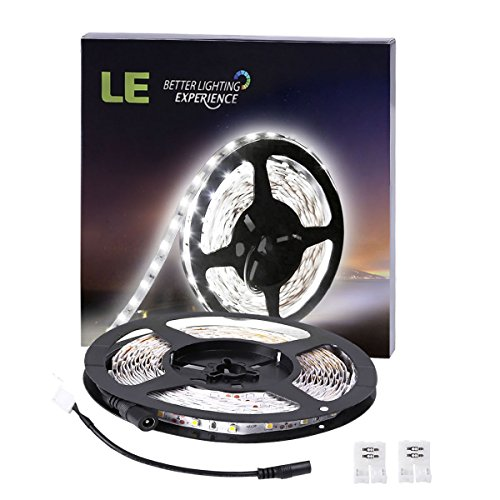 Light Led Strip - LE 16.4ft LED Flexible Light Strip, 300 Units SMD 2835 LEDs, 12V DC Non-waterproof, Light Strips, LED ribbon, DIY Christmas Holiday Home Kitchen Car Bar Indoor Party Decoration (Daylight White)