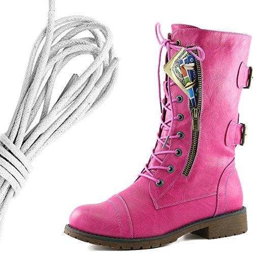 Dailyshoes Womens Lace Militaire Boucle Boucle Bottes De Combat Mi Genou Haute Carte De Crédit Exclusive Poche, Blanc Rose Coeurs