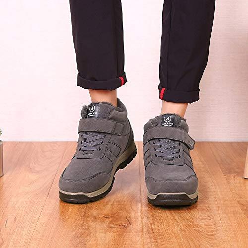 Classiques Velours Hiver Taille Gris Bottes Bottine Homme Boots Sneakers Mode Extérieur Antidérapant Sport Chaussures Qinmm De Travail Peluche Épaississement Martin Grande Chaude FWWR0