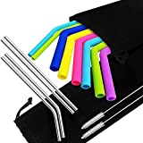 DanziX 8 Silicone and 4 Stainless Steel Straws for 30 20 Oz Tumbler Yeti Rtic, Reusable Extra Long Straws with Brushes and Storage Bags, Diameter 0.45'',0.26'', 0.24'',Length 9.6'' ,10.5'' - 6 Colors